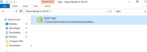 Search QuickBooks Company File on Windows
