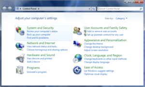 Windows System and Security in Control Panel