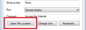 QuickBooks Open File Location Option