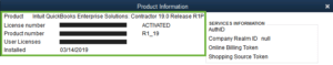 QuickBooks Product Information Screen