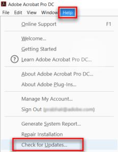 Adobe Reader Check for Updates