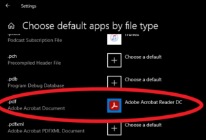 Choose default apps by file type pdf
