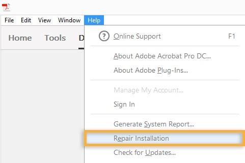 Repair Adobe Reader