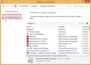 View Installed Updates Programs and Features