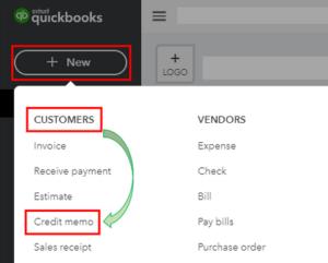 QuickBooks Online Create Credit Memo