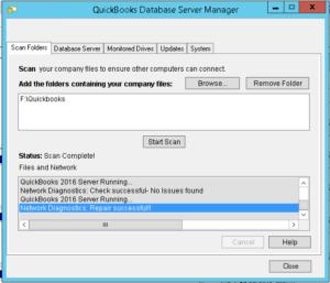 QuickBooks Database Server Manager Start Scan Option
