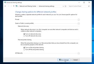 Windows Advanced Sharing Settings