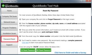 QuickBooks Tool Hub Password Reset