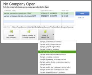 Open a Sample Company File in QuickBooks