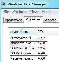 QuickBooks Processes in Task Manager