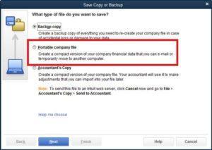 QuickBooks Create Portable Company File